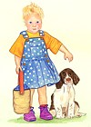 Illustration of Little Girl and dog
