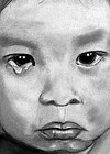 Black and White Pencil drawing of child crying